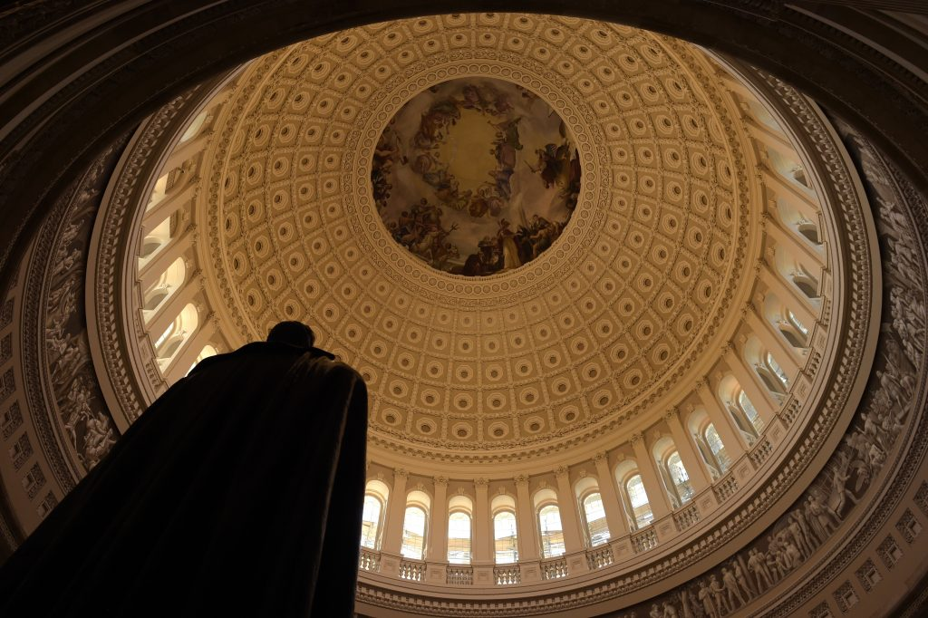 FILE -The newly restored rotunda inside of the Capitol dome. (AP Photo/Susan Walsh, File)