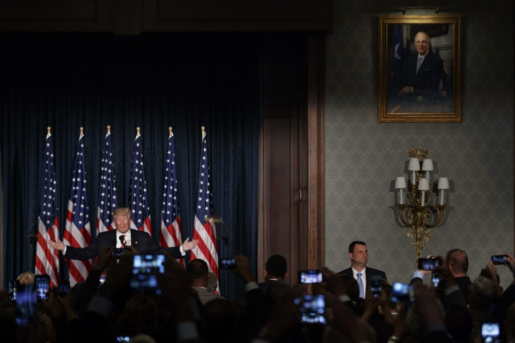 Republican presidential candidate Donald Trump speaks about national security, Wednesday, Sept. 7, 2016, at the Union League in Philadelphia. (AP Photo/Evan Vucci)