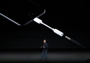 FILE - In this Sept. 7, 2016, file photo, Phil Schiller, Apple's senior vice president of worldwide marketing, talks about the features on the new iPhone 7 earphone options during an event to announce new products, in San Francisco.. (AP Photo/Marcio Jose Sanchez, File)