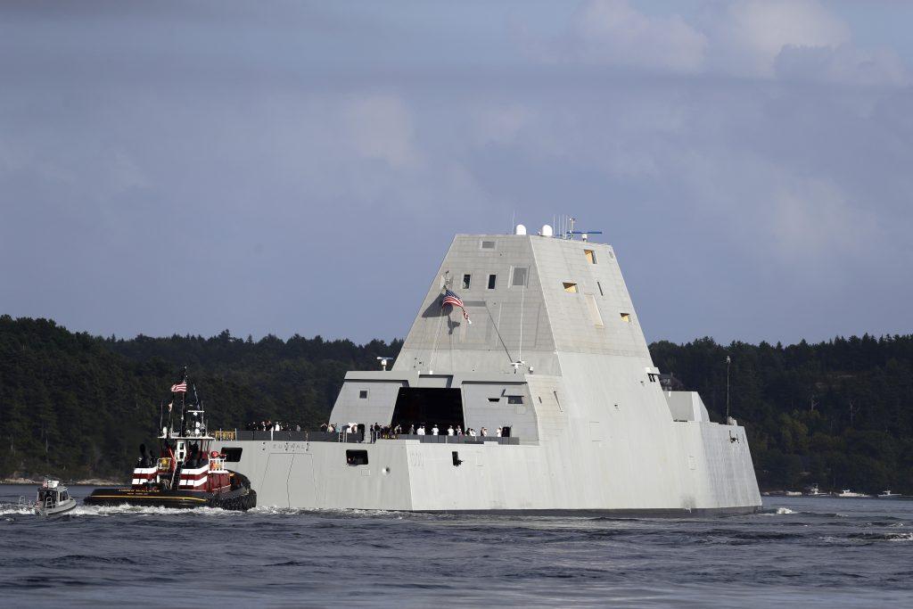 The future USS Zumwalt heads down the Kennebec River after leaving Bath Iron Works. (AP Photo/Robert F. Bukaty)