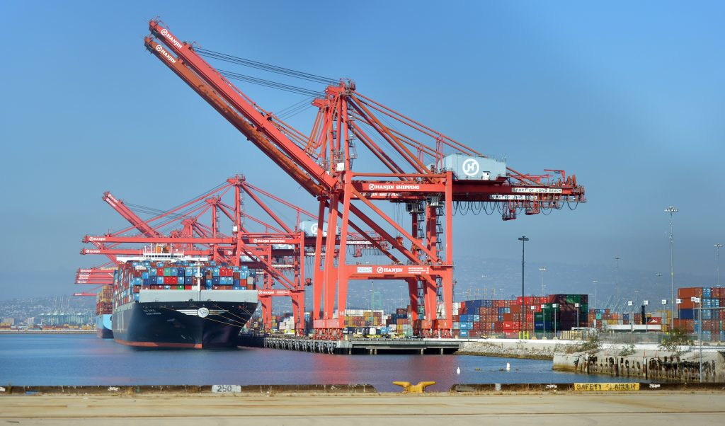 Hanjin ships stuck off the coast of Long Beach are unloaded Saturday. (Brittany Murray/Press Telegram via AP)