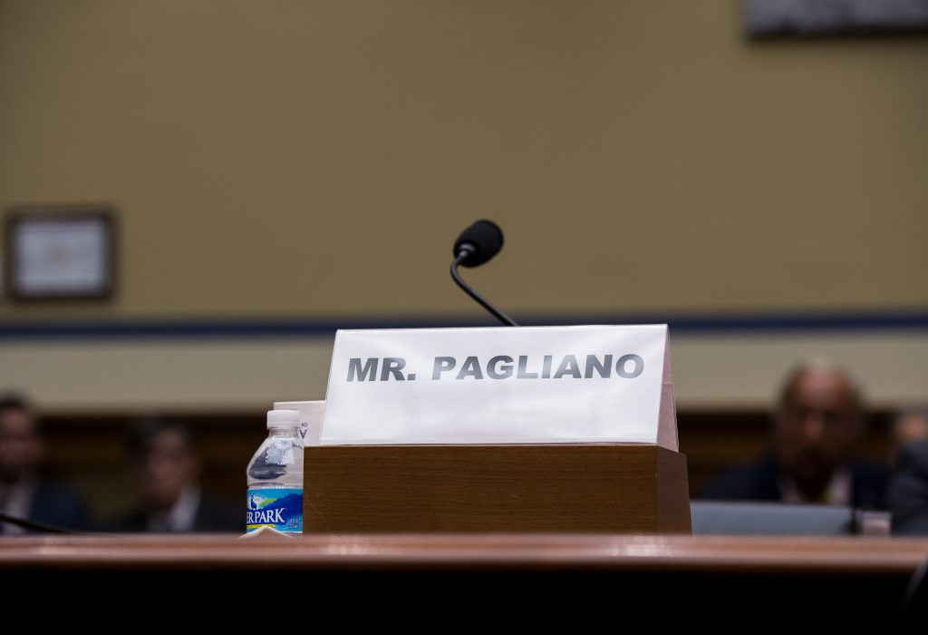 The empty seat for witness Bryan Pagliano on the witness table on Capitol Hill Tuesday. (AP Photo/Molly Riley)