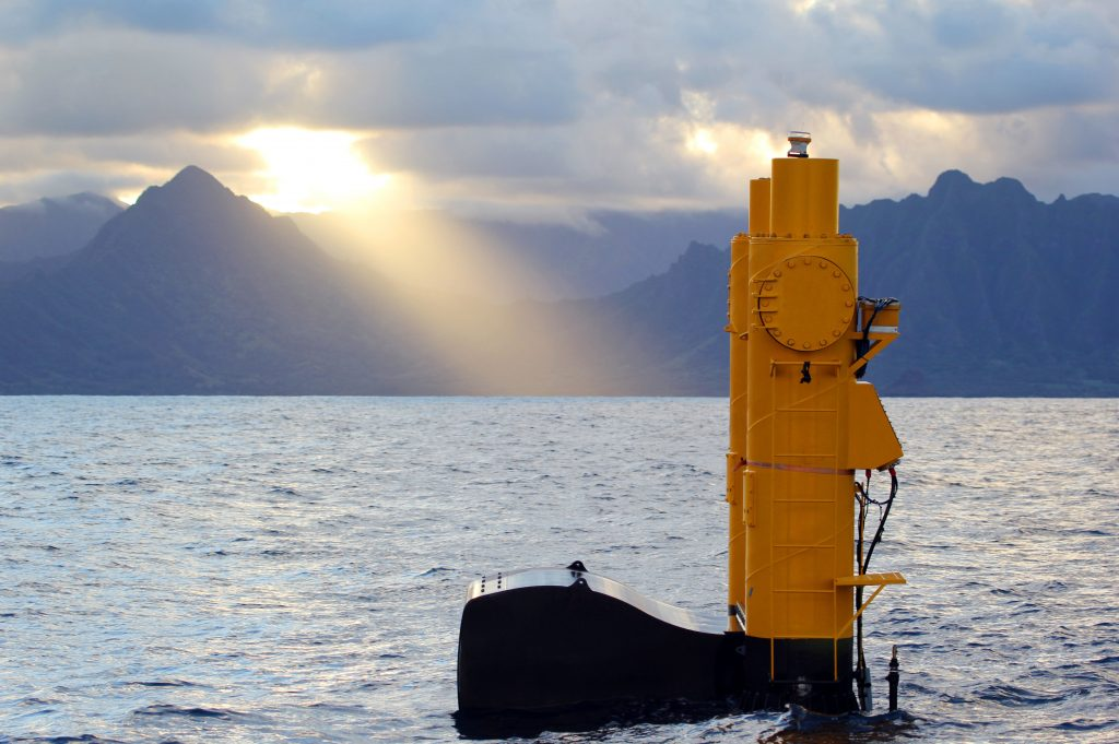 This 2015 photo provided by Northwest Energy Innovations shows the Azura wave energy device, which is converting the movement of waves into electricity at the Navy's Wave Energy Test Site at the Marine Corps base at Kaneohe Bay on Oahu in Hawaii. (Justin Klure/Northwest Energy Innovations via AP)