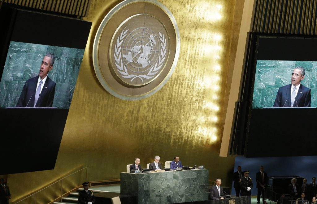 FILE - In this Monday, Sept. 28, 2015 file photo, United States President Barack Obama addresses the 70th session of the United Nations General Assembly at U.N. headquarters. World leaders meeting at the United Nations starting Monday, Sept. 19, 2016, will be trying to make progress on two intractable problems at the top of the global agenda — the biggest refugee crisis since World War II and the Syrian conflict now in its sixth year which has claimed over 300,000 lives. (AP Photo/Mary Altaffer)