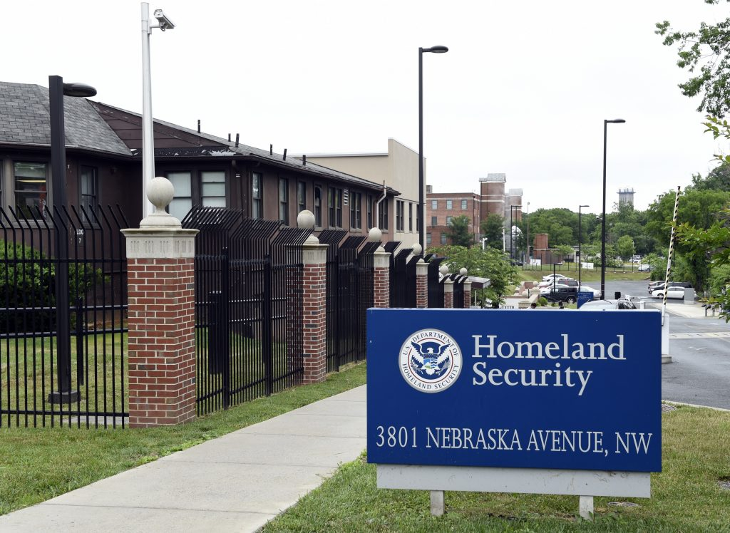 FILE - In this June 5, 2015 file photo, a view of the Homeland Security Department headquarters in Washington. (AP Photo/Susan Walsh, File)