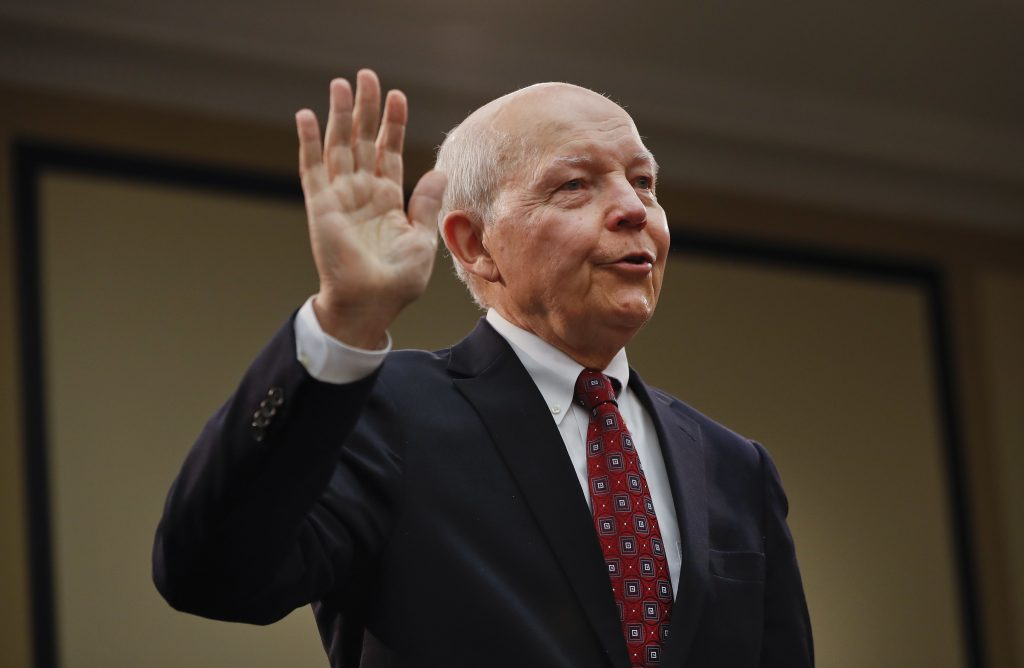 IRS Commissioner John Koskinen is sworn in on Capitol Hill in Washington, Wednesday, Sept. 21. (AP Photo/Pablo Martinez Monsivais)