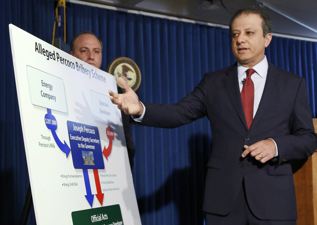United States Attorney Preet Bharara announces charges against nine people, including Gov. Andrew Cuomo's former deputy secretary, Thursday, Sept. 22, in New York. (AP Photo/Mark Lennihan)