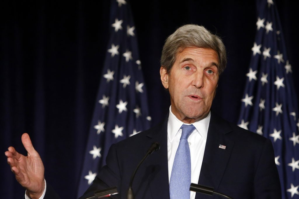 Secretary of State John Kerry delivers a statement following a meeting of the International Syria Support Group, Thursday, Sept. 22, in New York. (AP Photo/Jason DeCrow)