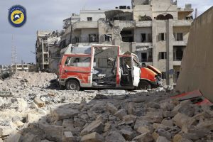 A destroyed ambulance is seen outside a Syrian Civil Defense center on Friday. (Syrian Civil Defense White Helmets via AP)