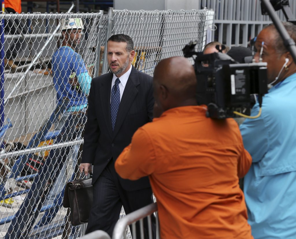 David Wildstein leaving the federal courthouse in Newark on Monday. (AP Photo/Mel Evans)