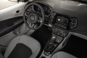The interior of the redesigned Jeep Compass Limited SUV. (Fiat Chrysler Automobiles US LLC via AP)