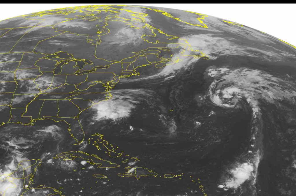 This NOAA satellite image taken Thursday, Sept. 15, 2016 at 12:45 AM EDT, shows Tropical Storm Julia with sustained winds of forty miles an hour sitting just off of the coast of the Carolinas. Julia will not move much over the next several days and will bring rounds of rain and gusty winds to the region. High pressure is building into the Great Lakes and the Northeast behind a sharp cold front. Much cooler temperatures and sunny skies will accompany this frontal passage. The Southeast and Mississippi River Valley are also under the control of a ridge of high pressure. Mostly sunny skies will prevail. (NOAA/Weather Underground via AP)