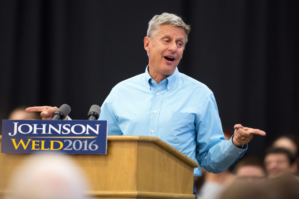 Libertarian presidential candidate Gary Johnson at a campaign rally at Grand View University in Des Moines, Iowa, on Saturday. (AP Photo/Scott Morgan)