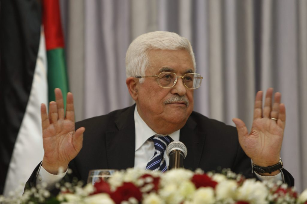 PA President Mahmoud Abbas, shown here speaking at a press conference in Bethlehem in January. (AP Photo/Majdi Mohammed, File)
