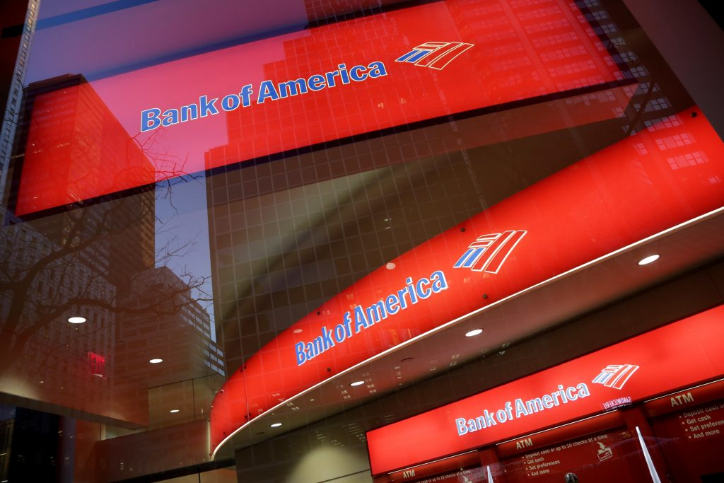 FILE - This Nov. 23, 2015, file photo, shows a branch office of Bank of America, in New York. (AP Photo/Mark Lennihan, File)