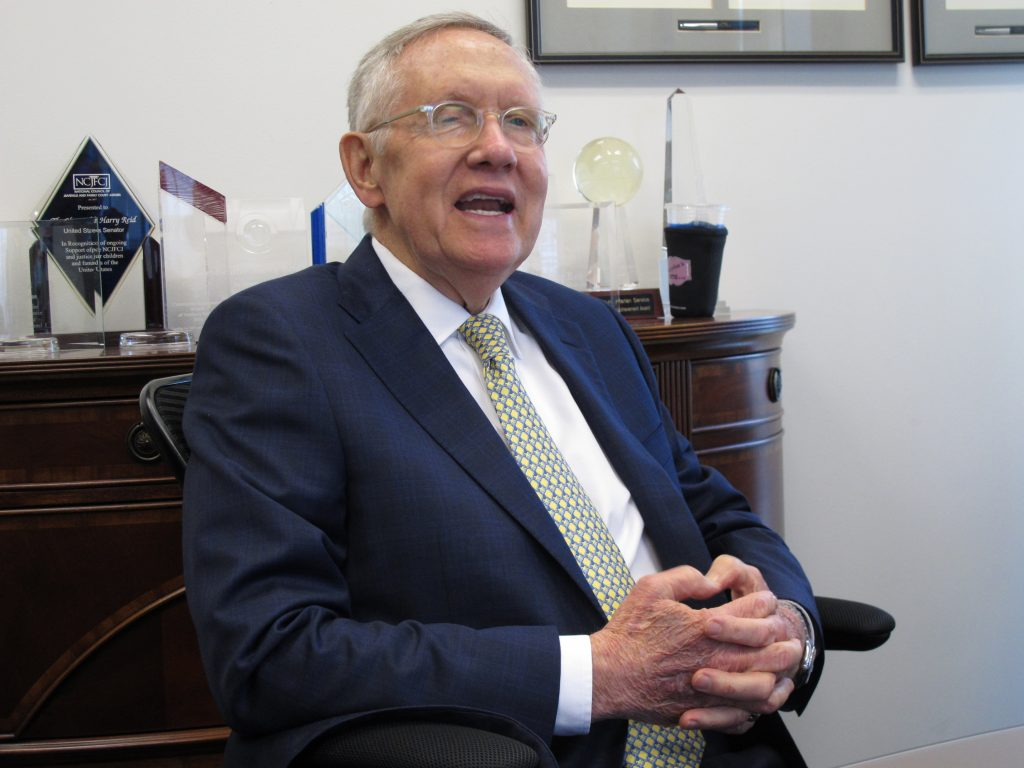 Sen. Harry Reid, D-Nev., who is retiring at the end of this year, talks to reporters at his office in the federal courthouse in Reno on Aug. 23, 2016. (AP Photo/Scott Sonner)