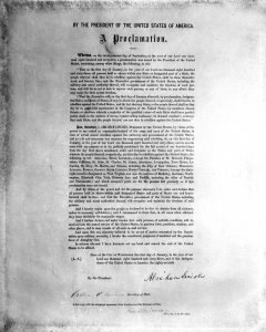 A printed copy of Abraham Lincoln's Emancipation Proclamation. The document, believed to be one of two or three similar copies in existence, was presented to the state of Illinois by an anonymous donor. A number of copies were printed after the issuance of the original proclamation on Jan. 1, 1863 for sale to benefit wounded soldiers. (AP Photo)