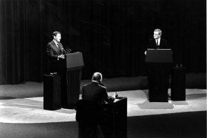 Ronald Reagan (L) and Walter Mondale at the second 1984 presidential debate, in Kansas City, Mo., on Oct. 21, 1984. (AP Photo/David Longstreath)
