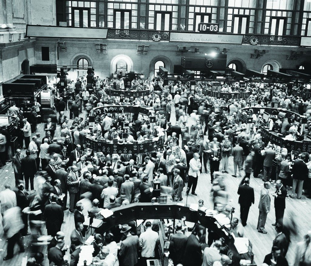 AP Photo Brokers and traders throng the floor of the New York Stock Exchange where prices broke sharply, September 26, 1955, in reaction to the news of President Eisenhower's heart attack.