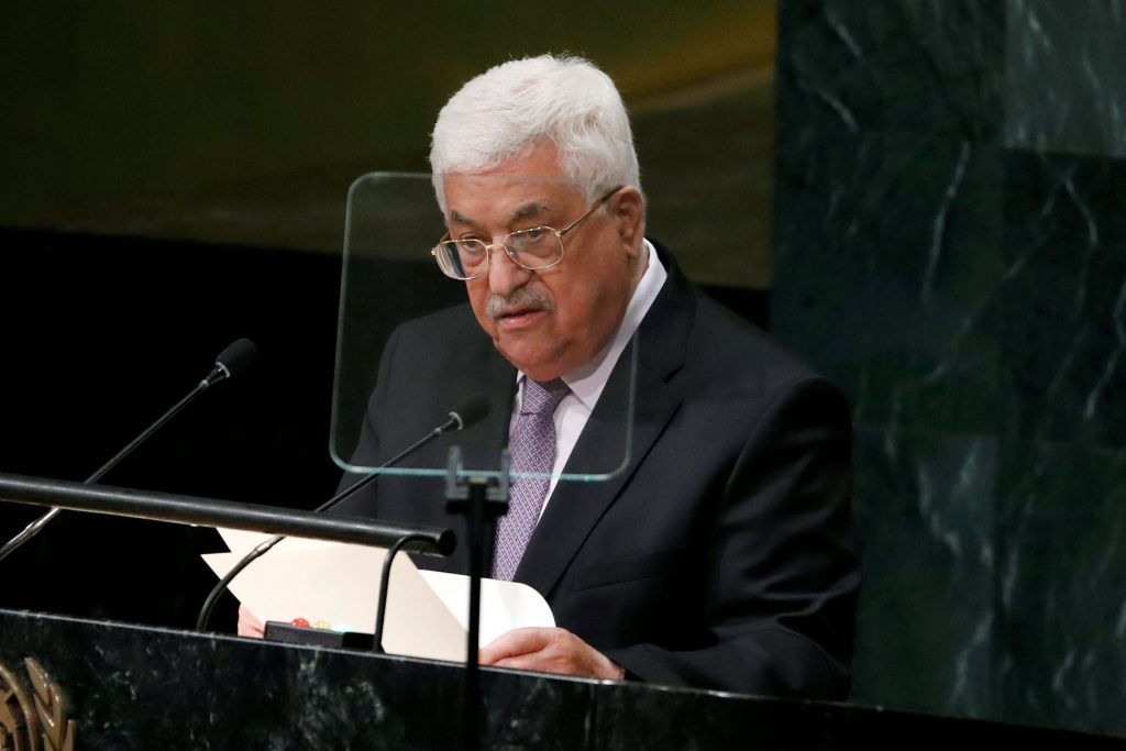 Palestinian Authority President Mahmoud Abbas addresses the U.N. General Assembly in New York, Thursday. (Lucas Jackson/Reuters)