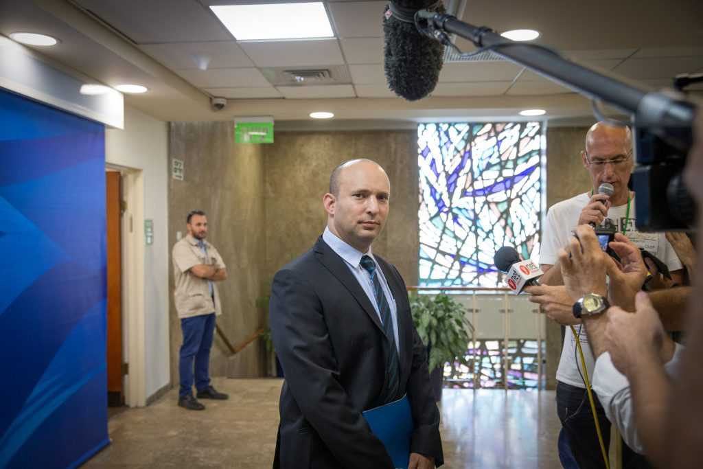 Israeli Minister of Education Naftali Bennett. (Ohad Zwigenberg/Pool)