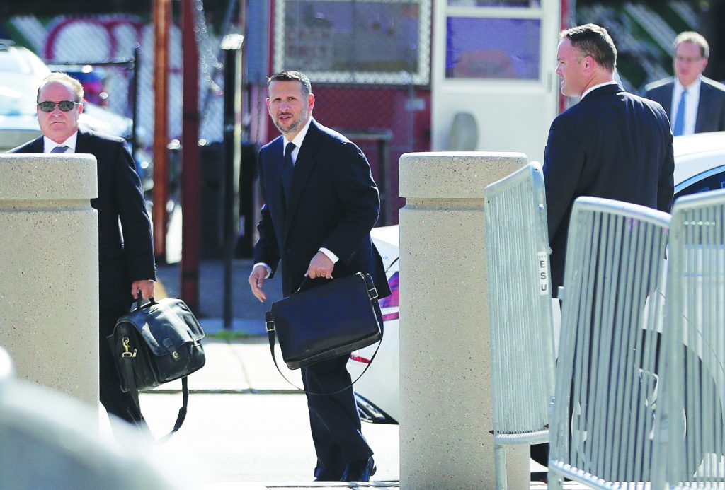 David Wildstein arrives at the federal courthouse Friday for a hearing in Newark. (AP Photo/Julio Cortez)