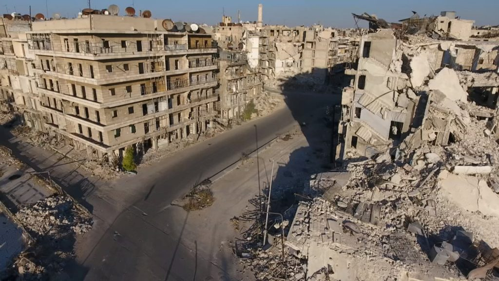 A still image taken on September 27, 2016 from a drone footage obtained by Reuters shows damaged buildings in a rebel-held area of Aleppo, Syria. Handout via Reuters TV ATTENTION EDITORS - THIS IMAGE WAS PROVIDED BY A THIRD PARTY. EDITORIAL USE ONLY. NO RESALES. NO ARCHIVE.