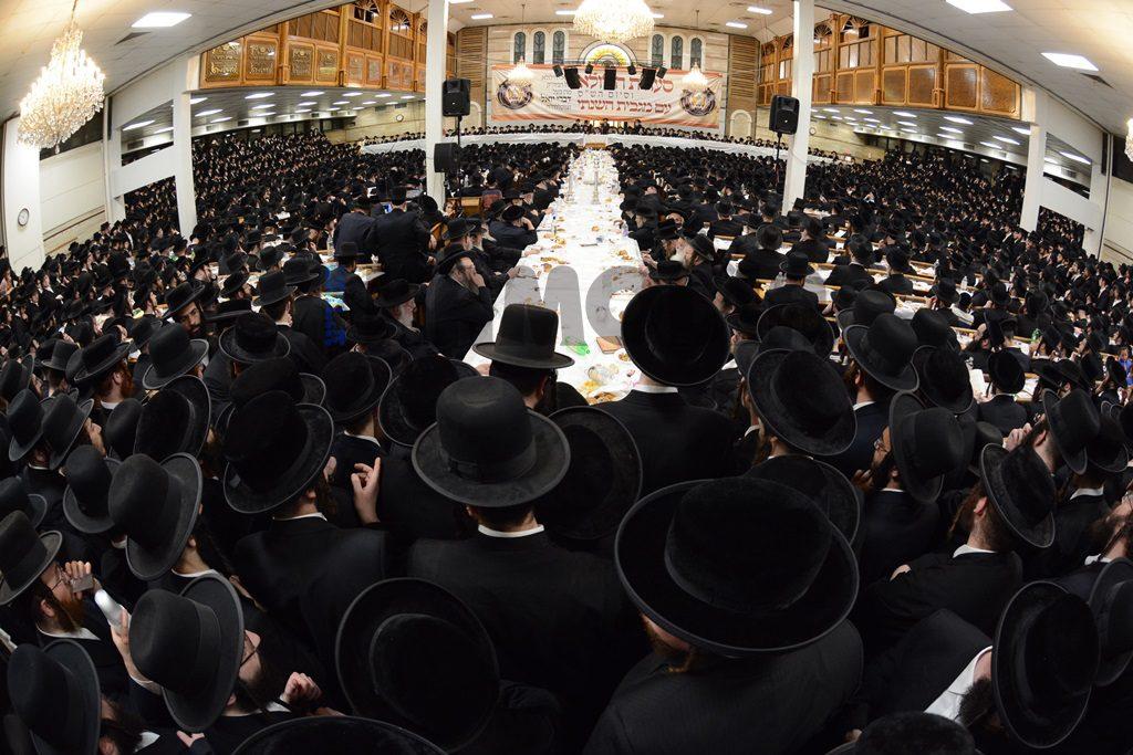A view of the crowd at the yahrtzeit tisch, Tuesday. (JDN)
