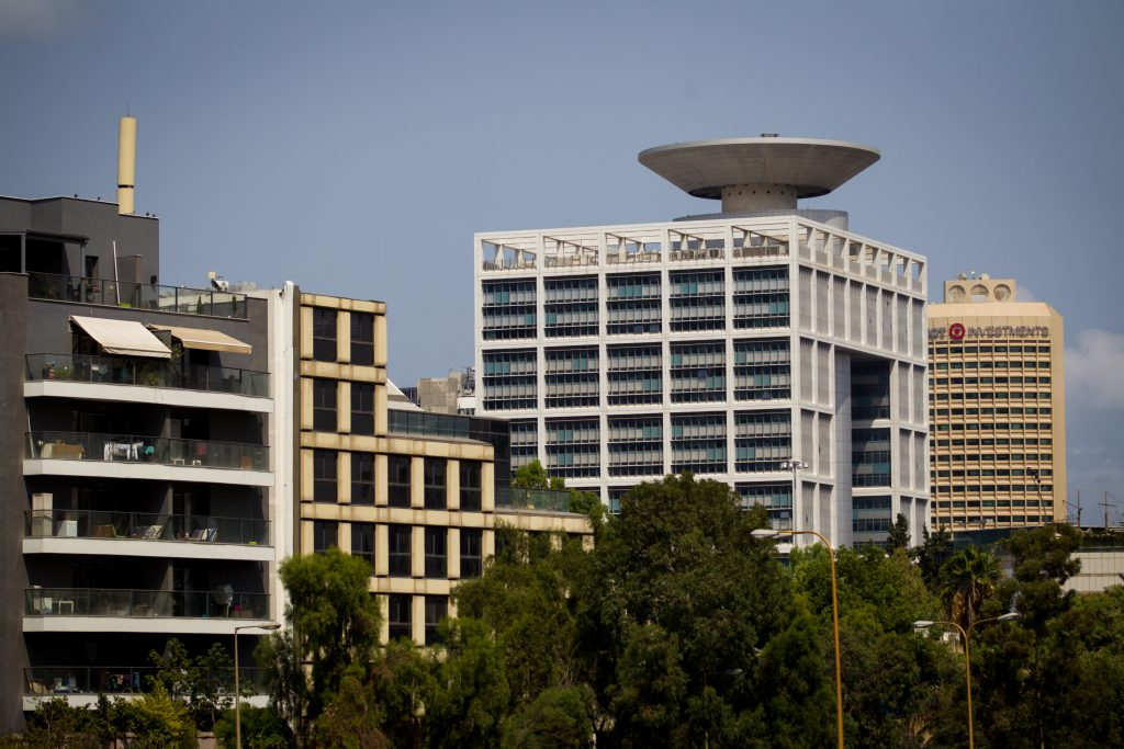 The Ministry of Defense headquarters (2nd R) in Tel Aviv. (Miriam Alster/Flash90)
