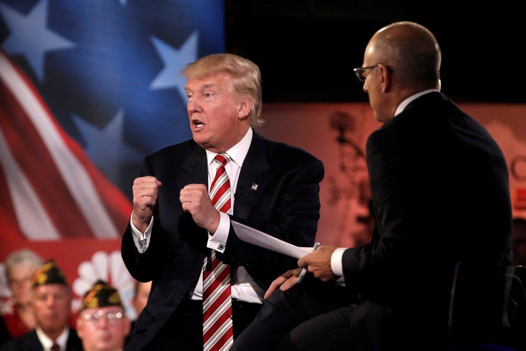 Republican presidential nominee Donald Trump speaks during the Commander in Chief Forum in Manhattan, New York, U.S., September 7, 2016. REUTERS/Mike Segar