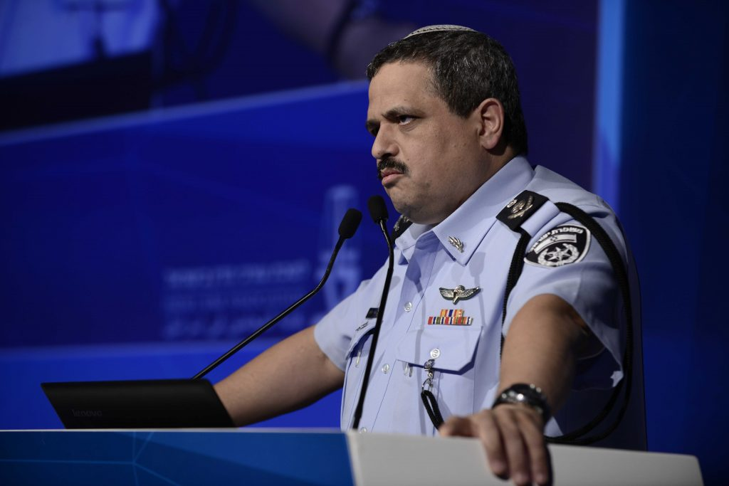 Police Commissioner Roni Alsheich during the speech to the Israeli Bar Association which has generated controversy. (Tomer Neuberg/Flash90)