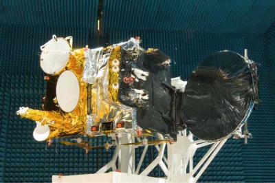 Israel Aerospace Industries' AMOS 3 communications satellite during pre-launch tests. Photo by IAI via Tsahi Ben-Ami / FLASH 90