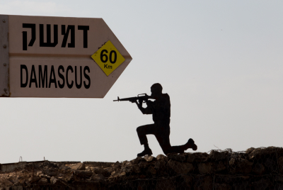 View of an old military outpost, where signs point to Damascus, Syria, on top of Mount Bental in the Golan Heights. May 06, 2013. Photo by FLASH90