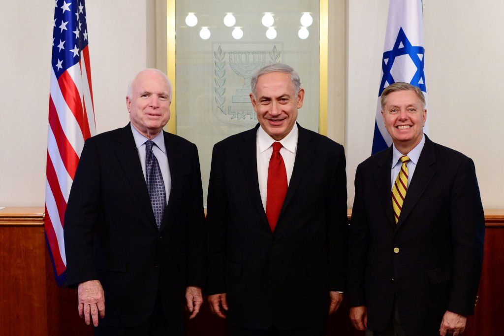 FILE - Prime Minister Netanyahu seen with senators Lindsey Graham and John McCain (L), at the PM's office in Yerushalayim. (Kobi Gideon/ GPO/Flash90/FILE)