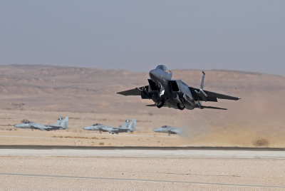 F-15w waiting for a take off in the background at the Ovda airbase in Southern Israel. Photo by Ofer Zidon/Flash90