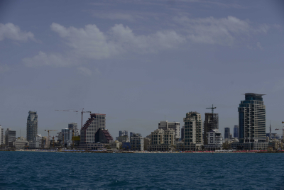 The Tel Aviv skyline as seen from the sea. Photo by Tomer Neuberg/Flash90