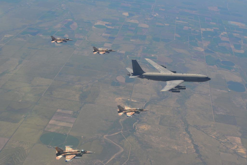 """Israel Air Force jets, transport planes, and refuellers during an 11-day drill named """"Red FLag"""" hosted by the US Air Force at Nellis Air Base, Nevada, last month. (IDF Spokesperson)"""