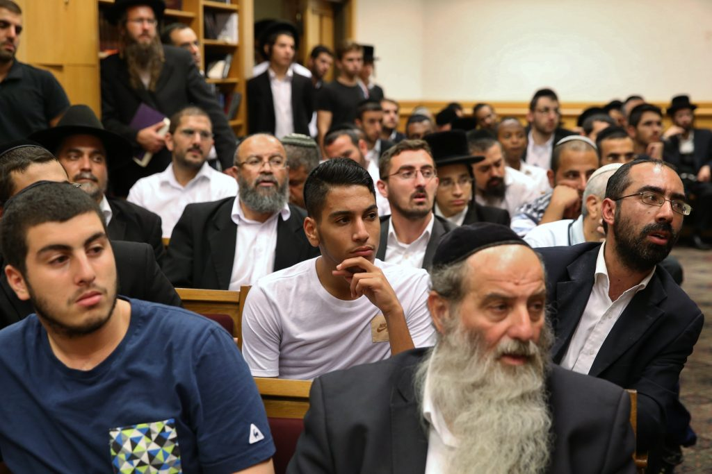 Rabbi Yitzhak Yosef, Rabbi David Yosef and leader of the ultra orthodox Shas part Aryeh Deri attend an event on occasion of the new Jewish month of Elul, at a synaggogue in the Har Nof neighorhood of Jerusalem. September 08, 2016. Photo by Yaacov Cohen/FLASH90 *** Local Caption *** ???? ????? ????? ???????? ???? ???? ???? ????? ????? ?? ?????? ???? ????? ????? ??? ??? ???. ???????? ?????? ????? ??? ???? ????.??? ??? ????. ???? ???? ????