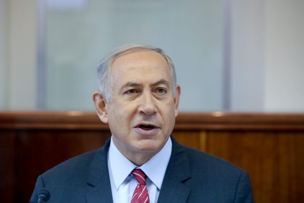 Israeli Prime Minister Benjamin Netanyahu leads the weekly cabinet meeting at PM Netanyahu's office. (Marc Israel Sellem/POOL)