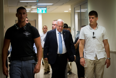 President Reuven Rivlin on his way to see Shimon Peres Saturday night. Photo by Miriam Alster/Flash90