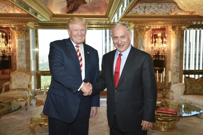 Prime Minister Benjamin Netanyahu meets with Republican Presidential candidate, Donald Trump, in New York, on September 25, 2016. Photo by Kobi Gideon/GPO