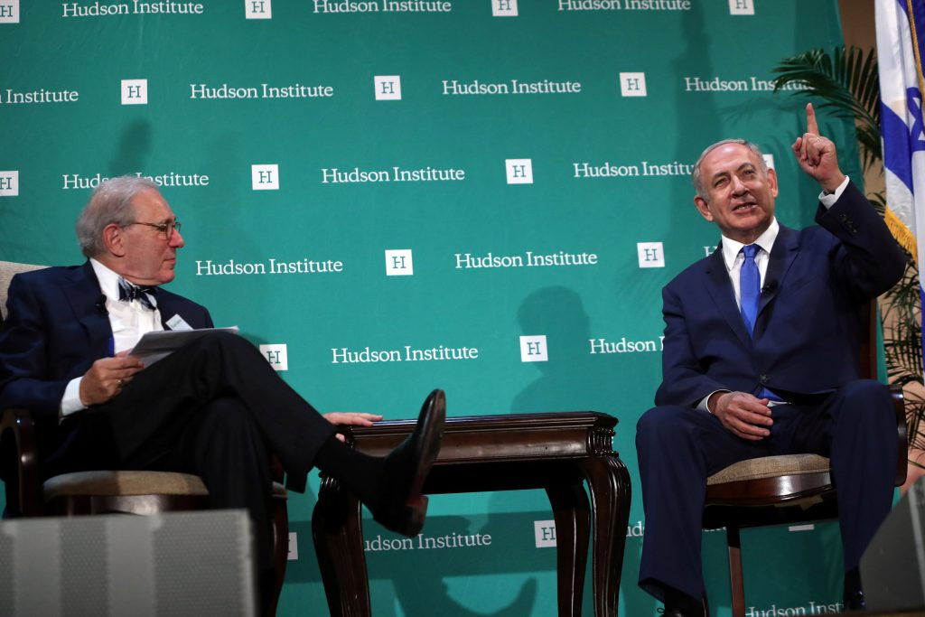 Israeli Prime Minister Binyamin Netanyahu (R) takes part in a question and answer session with The Tikvah Fund chairman Roger Hertog (L) at the Hudson Institute's Herman Kahn Award Ceremony at the Plaza Hotel in Manhattan, Thursday. (Andrew Kelly/Reuters)