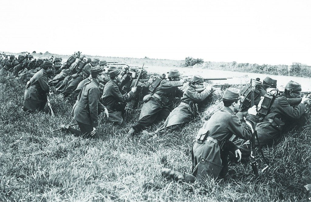 First Battle of the Marne: Part of the Western Front of World War I, French soldiers on manoeuvres in 1914.
