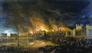 Detailed view of the Great Fire of London by an unknown painter.