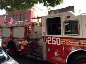 The Engine 250 truck heading to an emergency Sunday. (Yosef Caldwell/Hamodia)