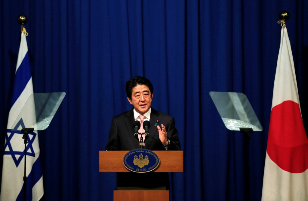 Japanese Prime Minister Shinzo Abe holds a news conference in Jerusalem January 20, 2015. REUTERS/Ammar Awad/File Photo