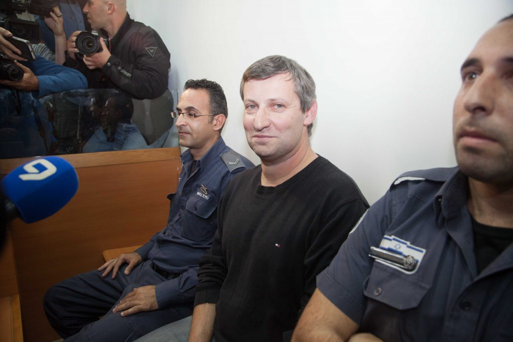 Former Israeli Minister of Tourism Stas Misezhnikov seen in court on December 24, 2014, will likely be indicted on corruption charges. (Flash90)