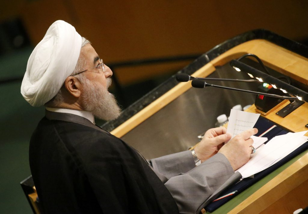 President Hassan Rouhani of Iran addresses the 71st United Nations General Assembly in New York, Thursday. (Carlo Allegri/Reuters)