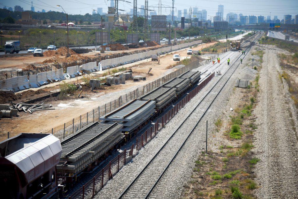 A view of the infrastructure work of Israel Railways at the Herzliya Railway Station on Sunday. (Avi Dishi/Flash90 )
