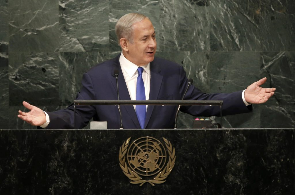 Prime Minister Binyamin Netanyahu addresses the United Nations General Assembly in New York on Thursday. (Mike Segar/Reuters)